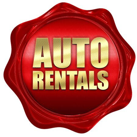wax sell: auto rentals, 3D rendering, a red wax seal