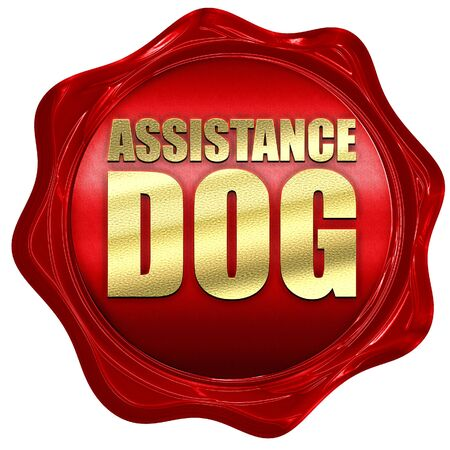 assistance dog, 3D rendering, a red wax seal Stock Photo