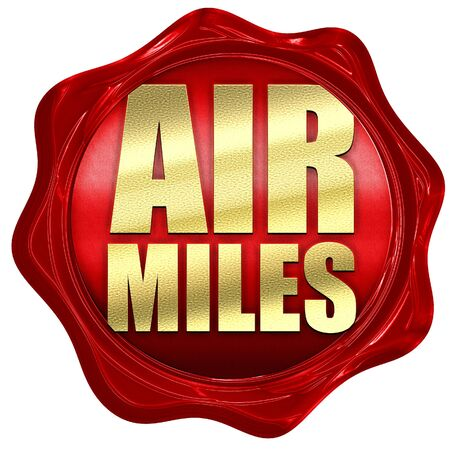miles: air miles, 3D rendering, a red wax seal