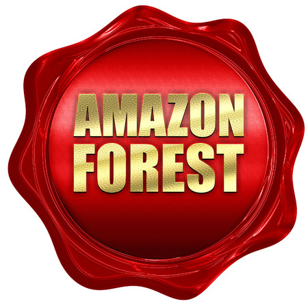 amazon forest: amazon forest, 3D rendering, a red wax seal