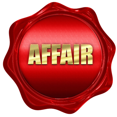 affair: affair, 3D rendering, a red wax seal Stock Photo