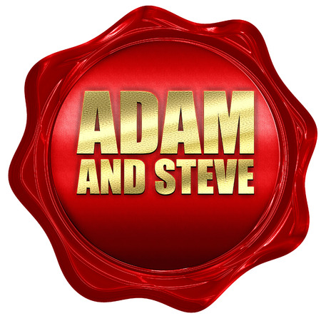 steve: adam and steve, 3D rendering, a red wax seal