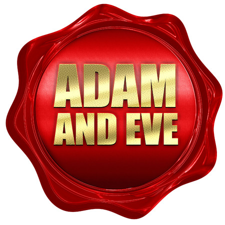 eve: adam and eve, 3D rendering, a red wax seal