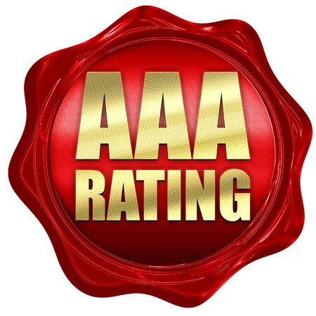 downgrade: aaa rating, 3D rendering, a red wax seal