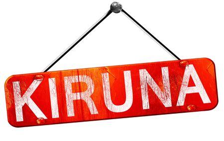 kiruna: Kiruna, 3D rendering, a red hanging sign Stock Photo