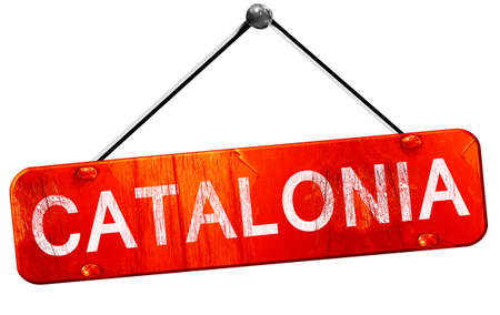 catalonia: Catalonia, 3D rendering, a red hanging sign