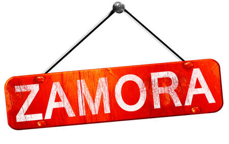 zamora: Zamora, 3D rendering, a red hanging sign Stock Photo