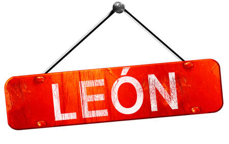 hanging sign: Leon, 3D rendering, a red hanging sign Stock Photo