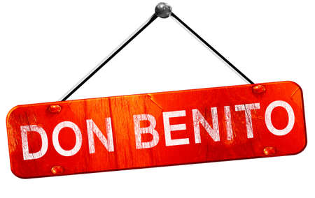 don: Don benito, 3D rendering, a red hanging sign Stock Photo