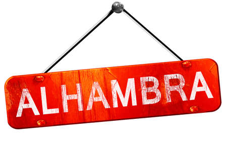 alhambra: Alhambra, 3D rendering, a red hanging sign Stock Photo