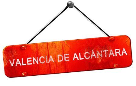valencia: Valencia de alcantara, 3D rendering, a red hanging sign Stock Photo