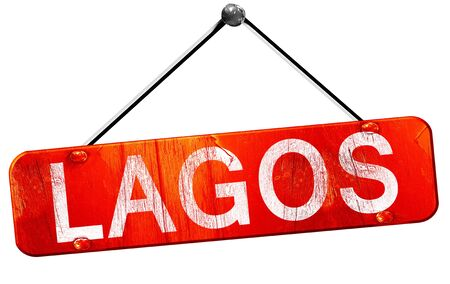 lagos: Lagos, 3D rendering, a red hanging sign