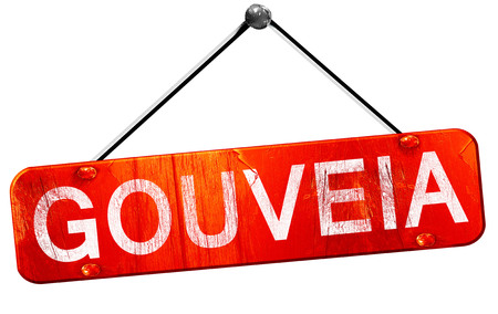 hanging sign: Gouveia, 3D rendering, a red hanging sign Stock Photo