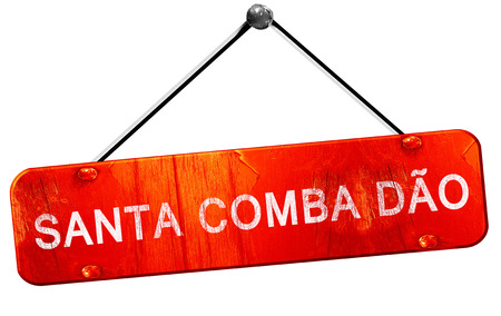 dao: Santa comba dao, 3D rendering, a red hanging sign