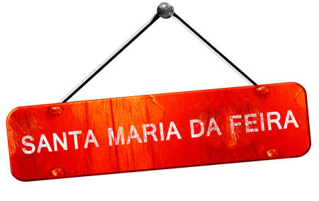 maria: Santa maria da feira, 3D rendering, a red hanging sign Stock Photo