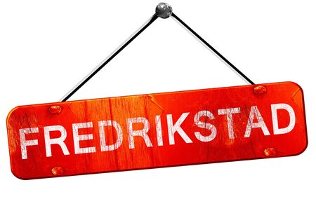 Fredrikstad, 3D rendering, a red hanging sign Stock Photo