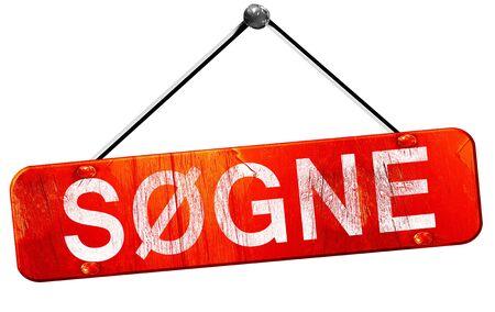 hanging sign: Sogne, 3D rendering, a red hanging sign
