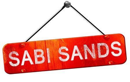 sabi sands: Sabi sands, 3D rendering, a red hanging sign