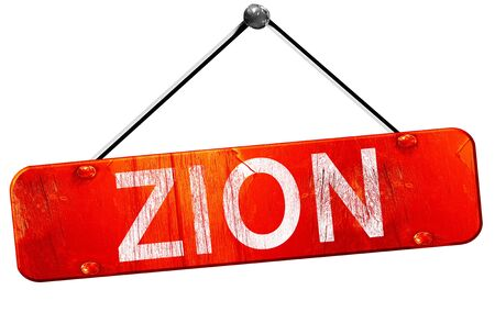 zion: Zion, 3D rendering, a red hanging sign Stock Photo
