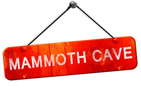 mammoth: Mammoth cave, 3D rendering, a red hanging sign