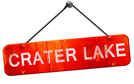 crater: Crater lake, 3D rendering, a red hanging sign