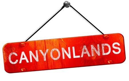 hanging sign: Canyonlands, 3D rendering, a red hanging sign