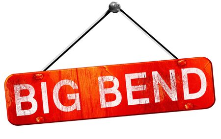 bend: Big bend, 3D rendering, a red hanging sign Stock Photo