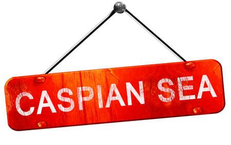 caspian: Caspian sea, 3D rendering, a red hanging sign