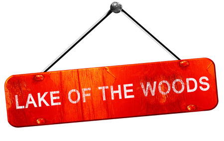 lake of the woods: Lake of the woods, 3D rendering, a red hanging sign