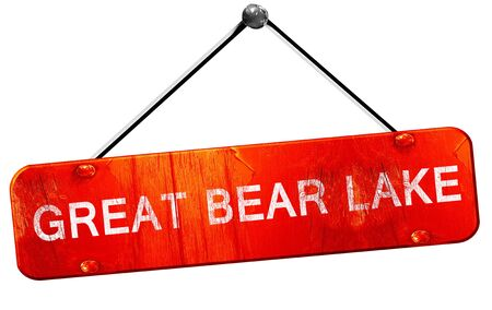 bear lake: Great bear lake, 3D rendering, a red hanging sign Stock Photo