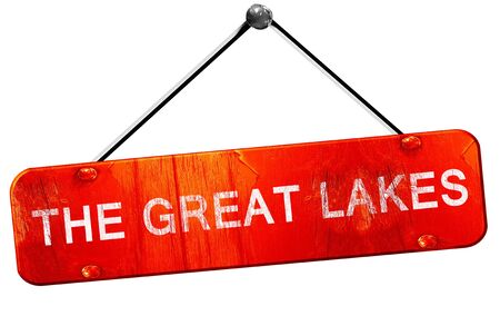 great lakes: The great lakes, 3D rendering, a red hanging sign