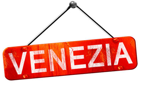 venezia: Venezia, 3D rendering, a red hanging sign Stock Photo