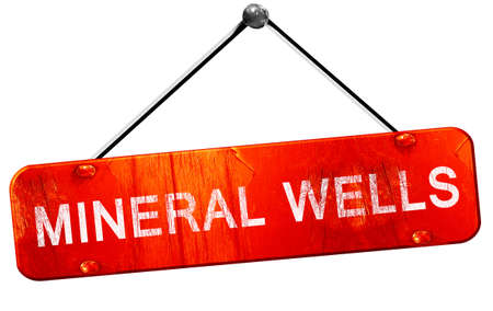 mineral: mineral wells, 3D rendering, a red hanging sign Stock Photo