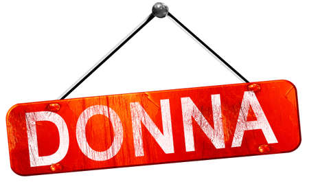 donna: donna, 3D rendering, a red hanging sign