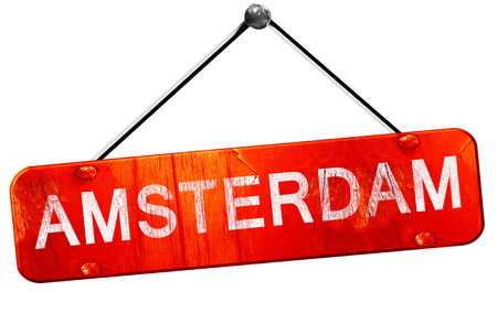 hanging sign: amsterdam, 3D rendering, a red hanging sign