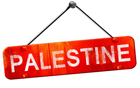 palestine: palestine, 3D rendering, a red hanging sign