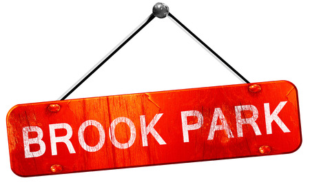 brook: brook park, 3D rendering, a red hanging sign Stock Photo