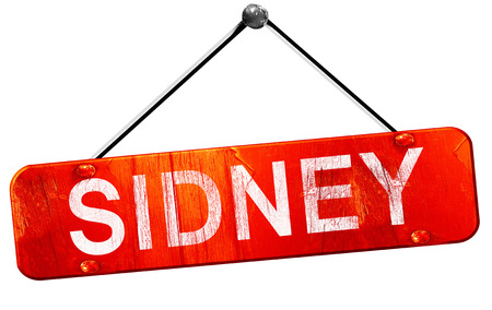 sidney: sidney, 3D rendering, a red hanging sign