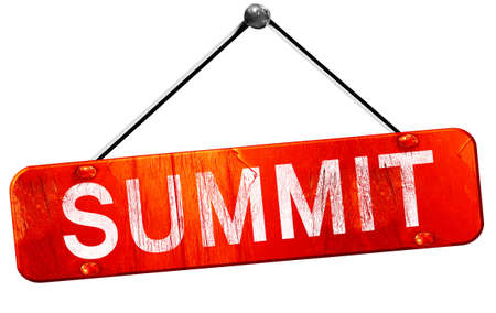 summit: summit, 3D rendering, a red hanging sign Stock Photo
