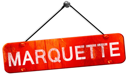 marquette: marquette, 3D rendering, a red hanging sign Stock Photo