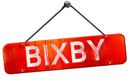 bixby: bixby, 3D rendering, a red hanging sign Stock Photo