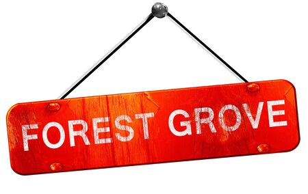 grove: forest grove, 3D rendering, a red hanging sign Stock Photo