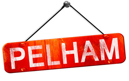 hanging sign: pelham, 3D rendering, a red hanging sign Stock Photo