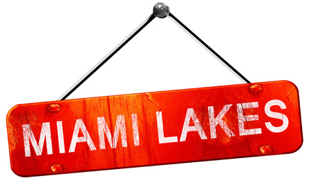 miami: miami lakes, 3D rendering, a red hanging sign Stock Photo