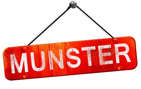 munster: munster, 3D rendering, a red hanging sign
