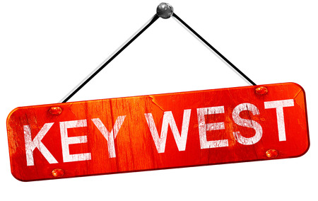 key west, 3D rendering, a red hanging sign