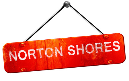shores: norton shores, 3D rendering, a red hanging sign