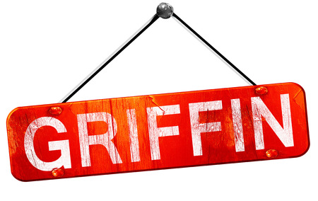 griffin: griffin, 3D rendering, a red hanging sign
