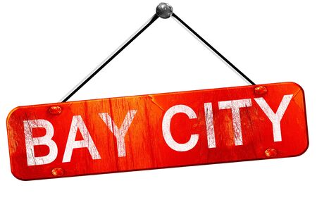 bay city: bay city, 3D rendering, a red hanging sign Stock Photo