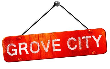 grove: grove city, 3D rendering, a red hanging sign